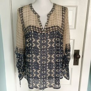Lucky Brand Blue/Cream Gathered Sleeve Tunic Top L